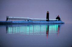 Pier at night, Lake Michigan, Grand Haven, Michigan  Tom Eckels (courtesy Michigan Travel Bureau)