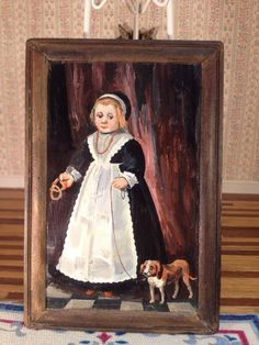 Dollhouse Miniature 1 12 Natasha's Framed Painting Maid w Dog IGMA 1981