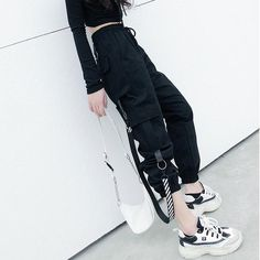 Dark fashion pants in 2020 Ulzzang Fashion, Kpop Fashion, Fashion Pants, Korean Street Fashion, Harajuku Fashion, Fashion Outfits, Edgy Outfits, Korean Outfits, Grunge Outfits