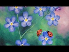 Ladybugs & Forget Me Nots Acrylic Painting LIVE Tutorial