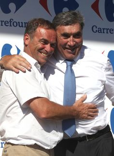(L-R) Cycling legends, and both five-time Tour de France winners, Bernard Hinault and Eddy Merckx