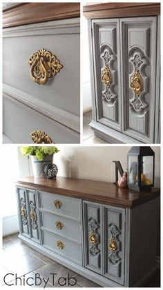 Chalk Paint Grey Side Board Makeover