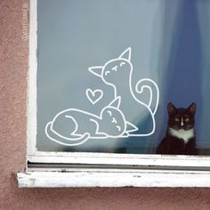Sweet pussies window drawing, nice for . Chalk Pens, Chalk Markers, Chalk Art, Cama Design, Chalk Drawings, Window Drawings, Ideas Geniales, Window Art, Chalkboard Art
