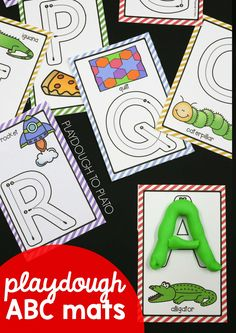 52 playdough ABC mats - 26 upper and 26 lower. These bright and colorful playdough mats give kids hands-on practice with fine motor skills, upper and lowercase letter formation, letter sounds, shapes, counting and writing the numbers 1 to **Affiliate Link Preschool Literacy, Preschool Letters, Preschool Lessons, Learning Letters, Literacy Activities, In Kindergarten, Preschool Activities, Playdough To Plato, Playdough Activities