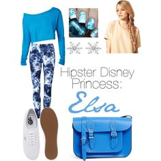 Hipster Disney princess: Elsa by obsessivelove on Polyvore featuring moda, Vans, The Leather Satchel Co., Hershesons and Disney