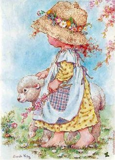 Mary had a little lamb by Sarah Key Sarah Key, Holly Hobbie, Creative Pictures, Love Pictures, Sarah Kay Imagenes, Heart Illustration, Decoupage Vintage, Beatrix Potter, Illustrations