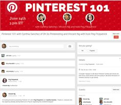 Pinterest 101 with Cynthia Sanchez of Oh So Pinteresting and VIncent Ng with host Peg Fitzpatrick - Google+
