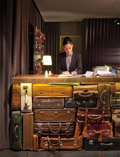 Love the vintage suitcases and the keywall in the back