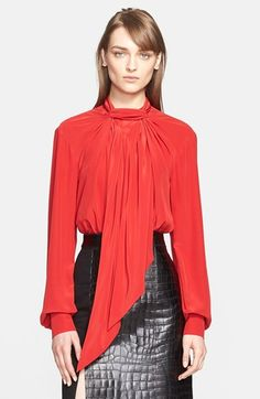 Jason Wu Draped Neck Tie Silk Blouse available at #Nordstrom