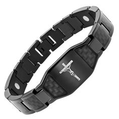 Willis Judd Men's Christian Jesus Crucifix Cross Black Carbon Fiber Titanium Magnetic Bracelet Adjustable. Free link removal tool - allows you to adjust the size in the comfort of your home. Free black velvet bracelet box included. Extra strong high powered magnets 3000 gauss. Hand crafted from super strong, yet super light weight pure titanium. Please read feedback from our satisfied customers.