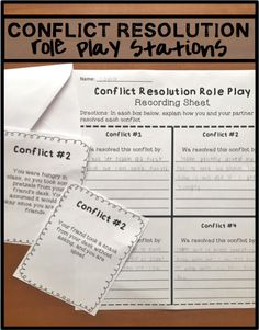 8 conflict resolution role play stations to help students learn how to solve their own conflicts. A fun and engaging way to teach conflict resolution .