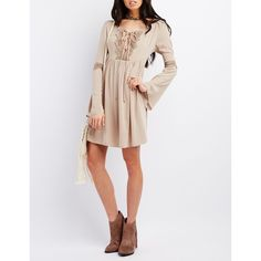 Charlotte Russe Lace-Up Babydoll Dress ($35) ❤ liked on Polyvore featuring dresses, khaki, baby doll dress, fancy dresses, khaki dress, bell sleeve dress and doll dress