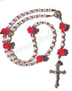 This beautiful Rosary is made from genuine czech faceted glass beads with an iridescent finish to provide an outstanding sparkle. You may personalize this Rosary with up to 5 words and up to 10 letter Diy Rosary Necklace, Rosary Beads, Prayer Beads, Diy Jewelry, Jewelery, Handmade Jewelry, Jewelry Making, Jewelry Ideas, Holy Rosary