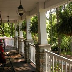 front deck posts with stone Eclectic Home porch columns Design Ideas Pictures Remodel and Front Porch Columns, Front Porch Design, Front Deck, Front Porches, Front Porch With Columns, Porch Overhang, Porch Designs, Front Entry, Home Porch
