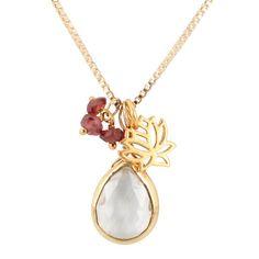 'Zen' Garnet and Quartz Gemstone Lotus Charm Necklace on a 16 inch - 18 inch Gold Fill Box Chain, #7280S