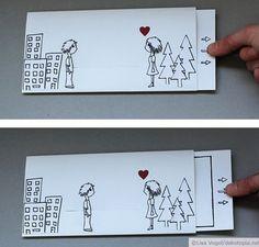 """Der Valentinstag ist zwar schon lange rum, aber ich finde, kleine Liebesbeweise in Form von selbst gemachten Geschenken sind das ganze Jahr über willkommen. Ich habe für meinen Lieblingsmenschen eine Postkarte entworfen, die man auseinanderziehen kann. So findet e nicht nur eine Nachricht, sondern kann auch zusehen, wie sich die beiden """"Mini-Us"""" küssen. Das braucht Ihr dazu: festes Papier (Din A4) und ein extra Stück für den Innenteil Bleistift Filzstift Lineal Cutter Bastelkleber Rotes…"""