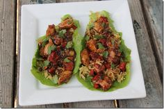 Teriyaki Chicken Lettuce Wraps - minus the rice, gross - way to ruin lettuce wraps Asian Recipes, Healthy Recipes, Asian Foods, Healthy Foods, Delicious Recipes, Clean Eating, Healthy Eating, Chicken Lettuce Wraps, Teriyaki Chicken