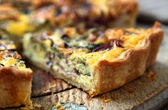 Blue cheese and red onion quiche This vegetarian quiche will impress dinner guests or your family, but is easy to make and you should have most of the ingredients in your cupboard.
