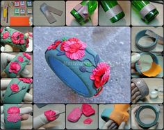 Polymer clay flower bangle tutorial. Good photos to understand the process