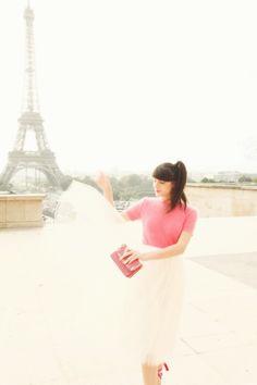 Dancing and dreaming. The Cherry Blossom Girl -skirt Alexandra Grecco, jumper Orla Kiely, bag Miu Miu