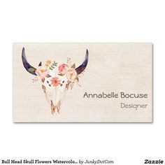 Bull Head Skull Flowers Watercolor Illustration Double-Sided Standard Business Cards (Pack Of 100) - May 18