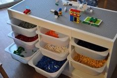 Lego table with the Trofast system from Ikea. Great idea for the boys . - Do it yourself - Kinderzimmer - Lego table with the Trofast system from Ikea. Great idea for the boys … – Do it yourself decora - Mesa Lego, Ikea Trofast Storage, Trofast Hack, Lego Storage Drawers, Ikea Kids Storage, Playroom Organization, Storage Bins, Lego Table Ikea, Lego Play Table