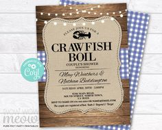 Crawfish Boil Invitations Party Invite Couple's Shower DOWNLOAD Blue Wood Lobster Engagement Couple's Shower Crab Dinner Printable WCWE033 Printing Websites, Printing Services, Online Printing, Party Invitations, Invite, Engagement Invitations, Shower Invitation, Black And White Couples, Black White