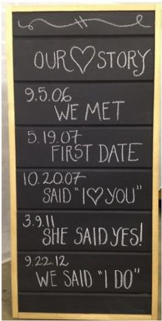 Chalkboard DIY Wedding Sign -- so cute that this tells the couple's love story!  I LOVE THEM ALL 10 Most Darling DIY Wedding Signs from @WeddingMix http://www.echopaul.com/pinterest-program.html