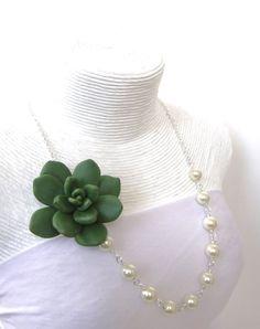 Succulent Necklace Succulent Bridesmaid Necklace Green by Diaszabo, $27.00