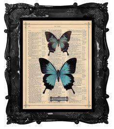 Antieke Blauwe vlinders kunstdruk op antiek boek pagina vintage woordenboekpagina Blauwe vlinders