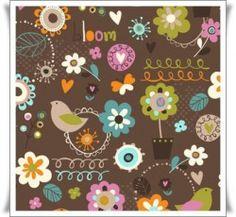 Preciosa tela con dibujos de flores y pajaros sobre fondo marron chocolate.