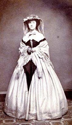 1860's silk skirt wo...