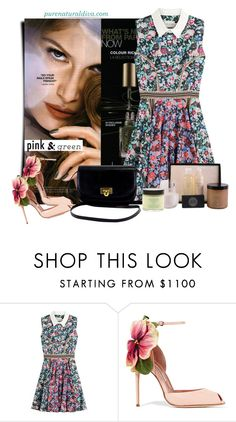 """""""Spring Mani: Pink and Green"""" by purenaturaldiva ❤ liked on Polyvore featuring beauty, L'Oréal Paris, Mary Katrantzou, Brian Atwood, naturalbeauty, pinkandgreen, organicbeauty and purenaturaldiva"""