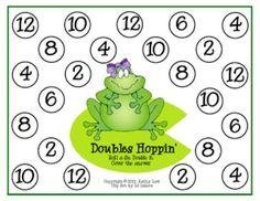 Printable Games {Teacher Created} on Teach Junkie - Doubles Addition Hopping Game
