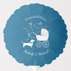 Shop Dachshund Weiner Dog Baby Shower Gender Neutral Balloon created by LittleGigglesBabyCo.