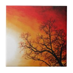 Fiery Sunset & Tree Nature Art Ceramic Tile