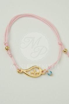 Μαρτυρικά βάπτισης με κορδόνι και προτότυπο μεταλλικό με σταυρό και χάντρα μάτι Bracelets, Gold, Jewelry, Bangle Bracelets, Jewellery Making, Jewerly, Jewelery, Jewels, Bracelet