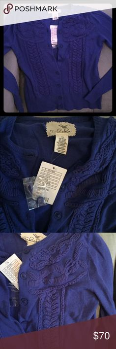 Brand NWT Anthropologie Blue Knit Cardigan XS Brand new with tags, (includes baggies w/ extra button), pristine Tabitha  ornate knit cardigan from Anthropologie.  -Tabitha size XS -Blue button up from, amazing knit embroidery.  Great find!   From a pet & smoke free home. Pictures are of the sweater you will receive. Anthropologie Sweaters Cardigans