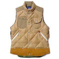 "Image of Junya Watanabe MAN x Duvetica ""Marsia"" Cotton Moleskin Paraffin Down Feather Vest Comme Des Garcons Men, Outdoor Vest, Junya Watanabe, Down Vest, Gentleman Style, Clothes Horse, Vest Jacket, Lana, Street Wear"