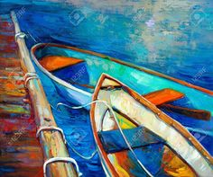 Original Oil Painting Of Boat And Jetty(pier) On Canvas.Sunset ...