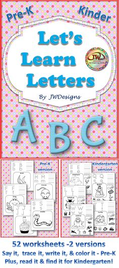 ABC worksheets for Pre-K, Kindergarten and homeschoolers. There is a worksheet for each letter of the alphabet, in two different versions. The Pre-K version is a bit simpler than the kindergarten version.  Kindergarten has the additional take of circling objects that start with the same letter.