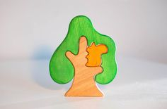 Waldorf wooden tree with squirrel Tree puzzle Nature table play set Toddler toy Imaginative play Wooden trees by WoodenCaterpillar on Etsy
