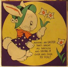 icollect247.com Online Vintage Antiques and Collectables - Talking Easter Card With Bunny 1941 Holiday-Other Vintage