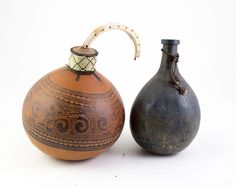 Pacific & African Artefacts n\Finely Patterned Gourd & Other with boar tusk stopper / MAD on Collections - Browse and find over 10,000 categories of collectables from around the world - antiques, stamps, coins, memorabilia, art, bottles, jewellery, furniture, medals, toys and more at madoncollections.com. Free to view - Free to Register - Visit today. #African #Artefacts #MADonCollections #MADonC