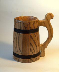 Mens Gift Wooden Beer Mug Oak Wood Jug Beer by WoodenMugStudio