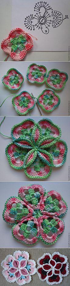 Volumetrica fiore del crochet - Fiera Masters - artigianale, fatto a mano
