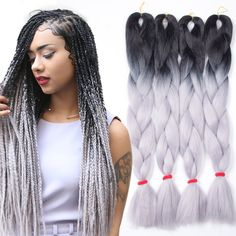 5pcs Ombre Kanekalon Braiding Hair Grey/Gray Kanekalon Jumbo Braid Two Tone Ombre Braiding Hair Synthetic Box Braids Hair