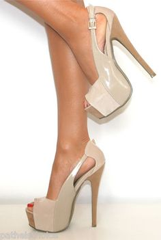 LADIES NUDE SUEDE PATENT PLATFORM STILETTO HIGH HEELS PEEP TOE SHOE PROM 3-8 $46