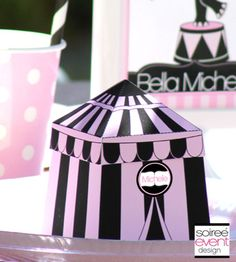 """Girly Circus!""© Personalized Big Top Tent Favor Box from Soiree-EventDesignShop.com"