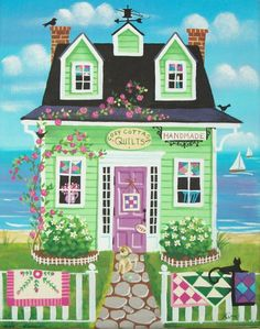 Etsy の Cozy Cottage Quilt Shop Folk Art Print by KimsCottageArt